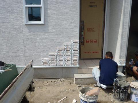 外壁コーナー施工中2